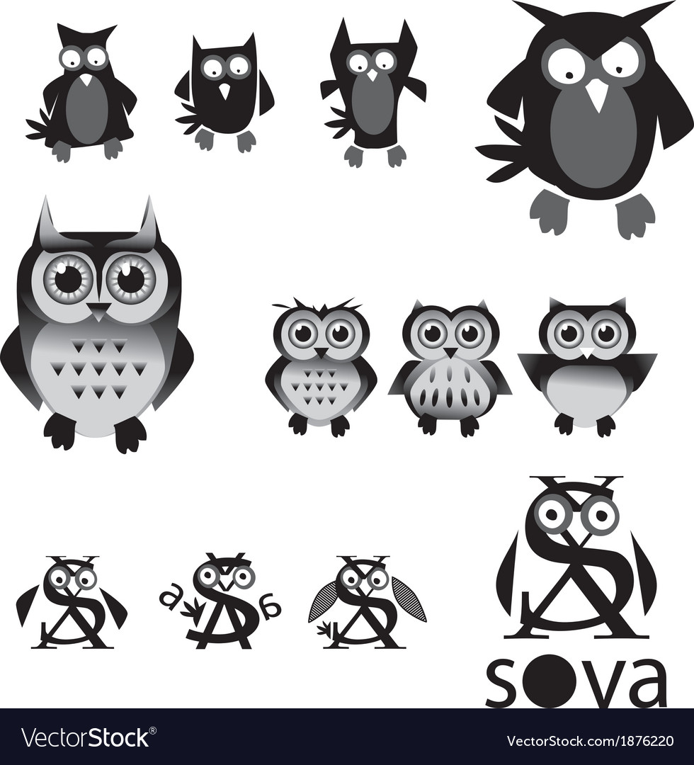 Set of owls in black and white colors vector