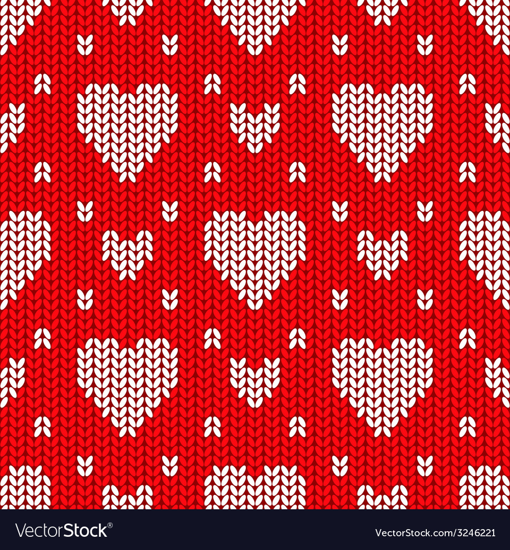 Bright valentines day knitted seamless pattern vector | Price: 1 Credit (USD $1)