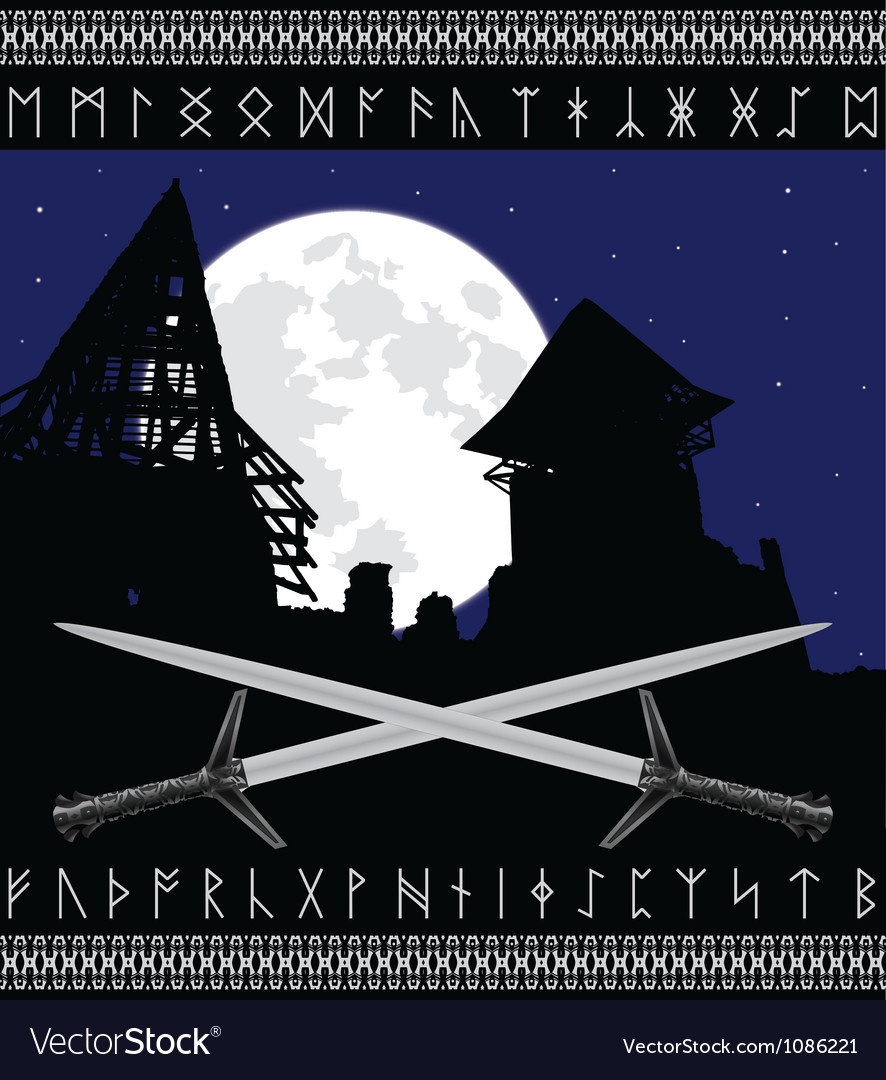 Castle ruins and moon vector | Price: 1 Credit (USD $1)