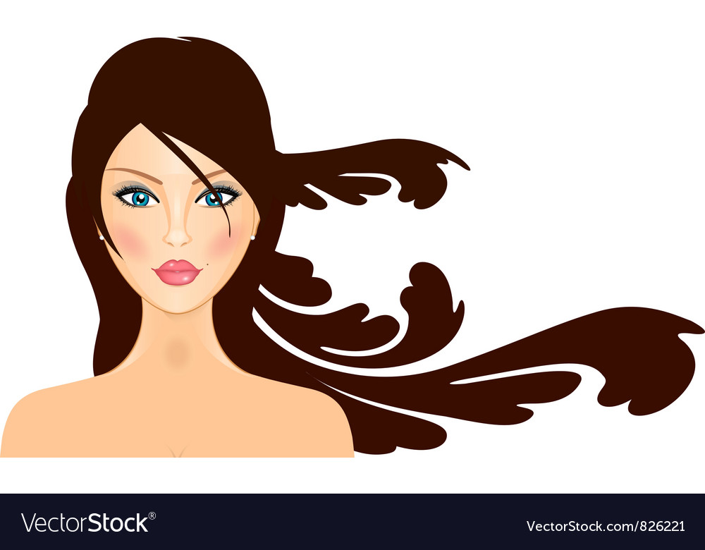 Girl with long hair vector | Price: 3 Credit (USD $3)