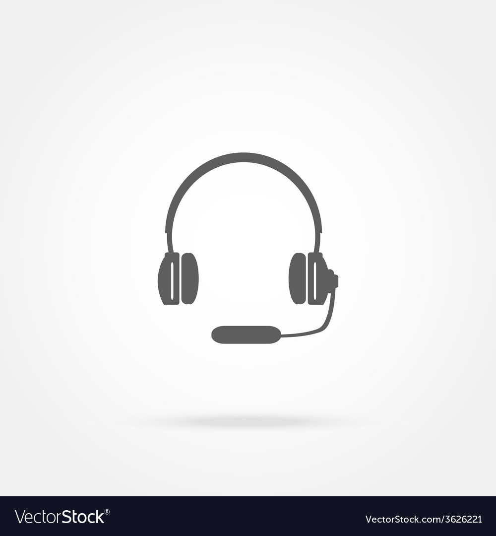Headphones with a microphone headset icon vector | Price: 1 Credit (USD $1)