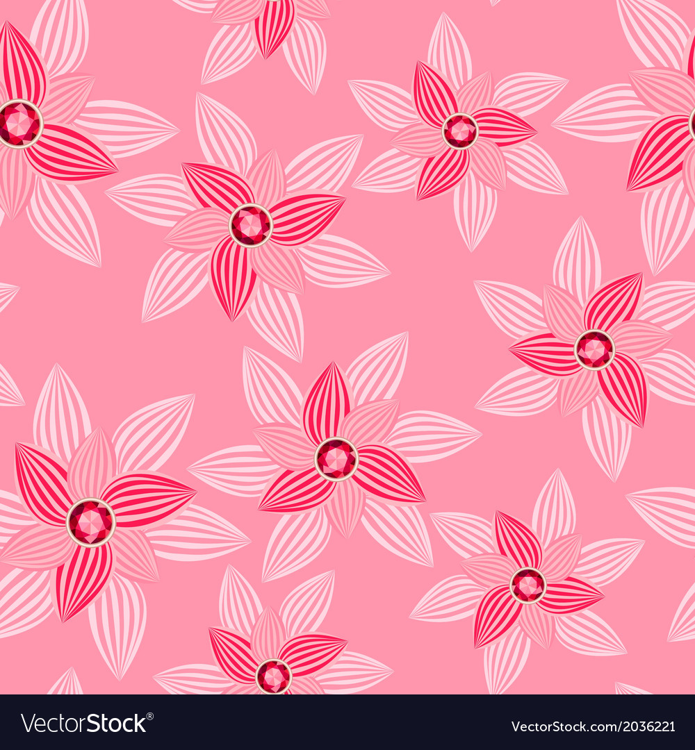 Pink flower with gemstone seamless pattern vector | Price: 1 Credit (USD $1)