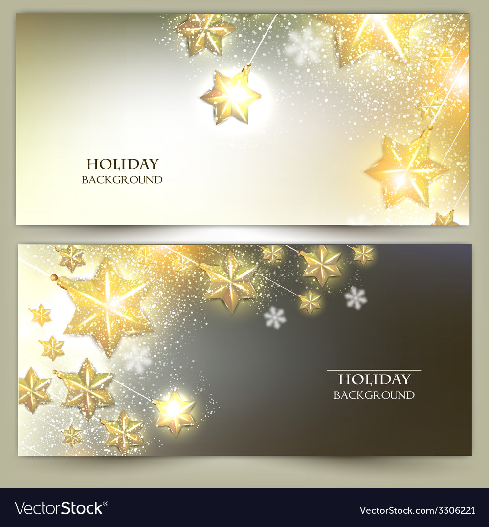 Set of elegant christmas banners with stars vector | Price: 3 Credit (USD $3)