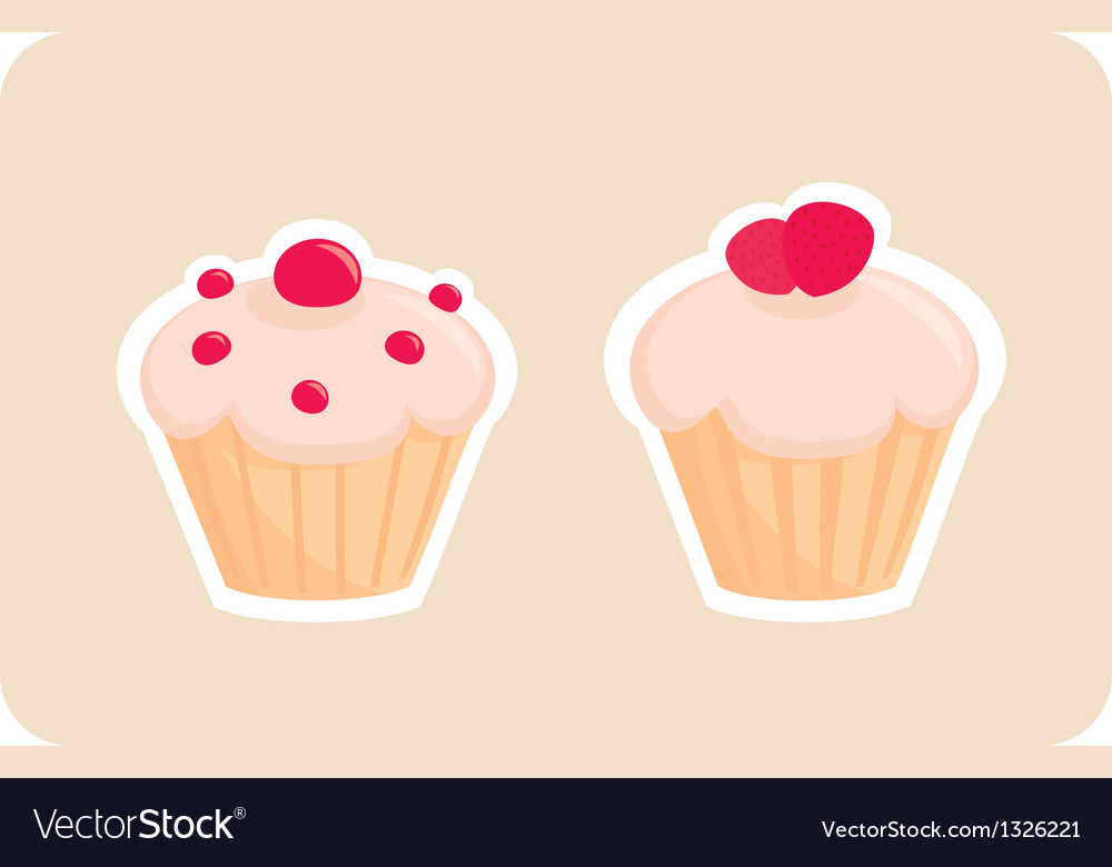 Sweet retro cupcakes silhouettes vector | Price: 1 Credit (USD $1)