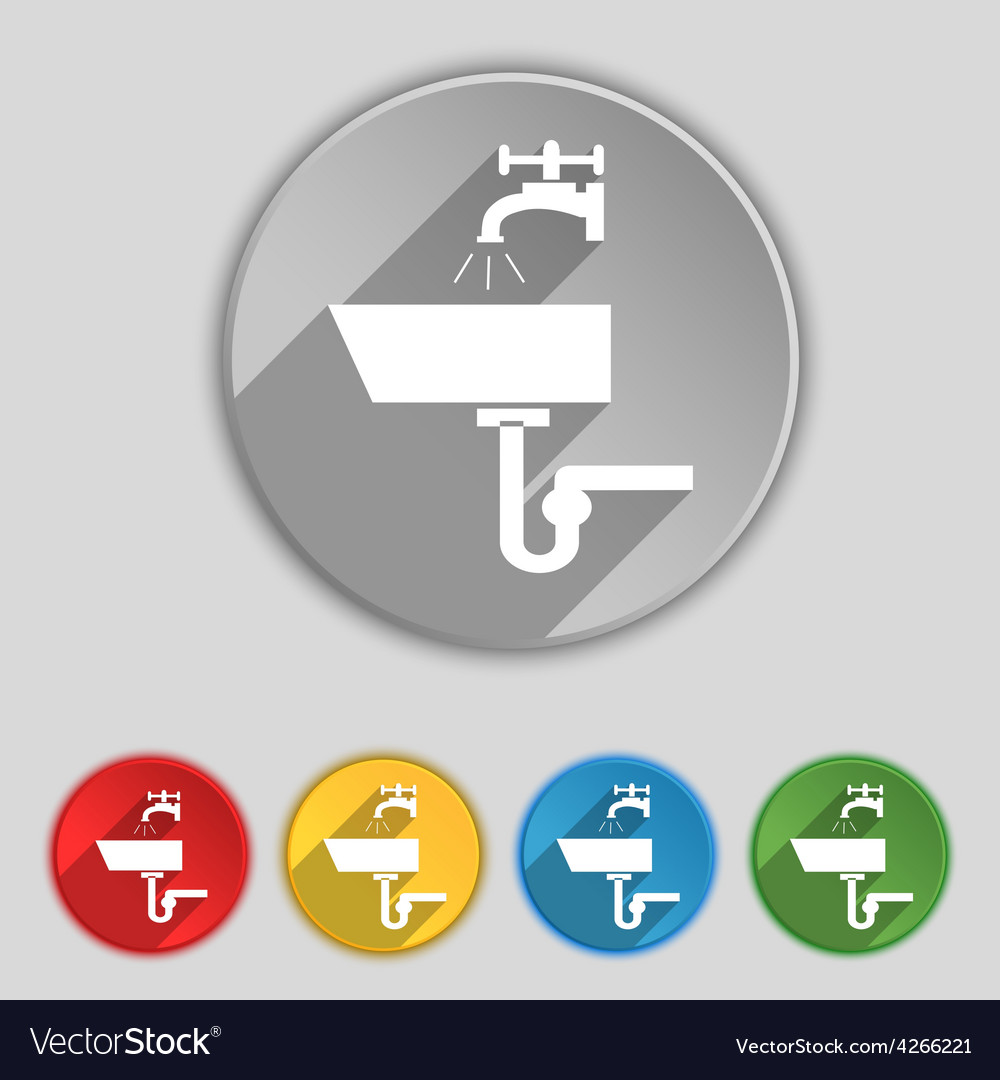 Washbasin icon sign symbol on five flat buttons vector | Price: 1 Credit (USD $1)