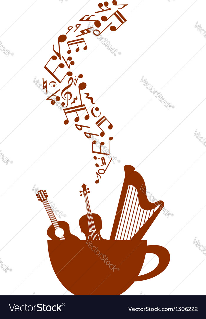 Cup of coffee with musical elements vector | Price: 1 Credit (USD $1)