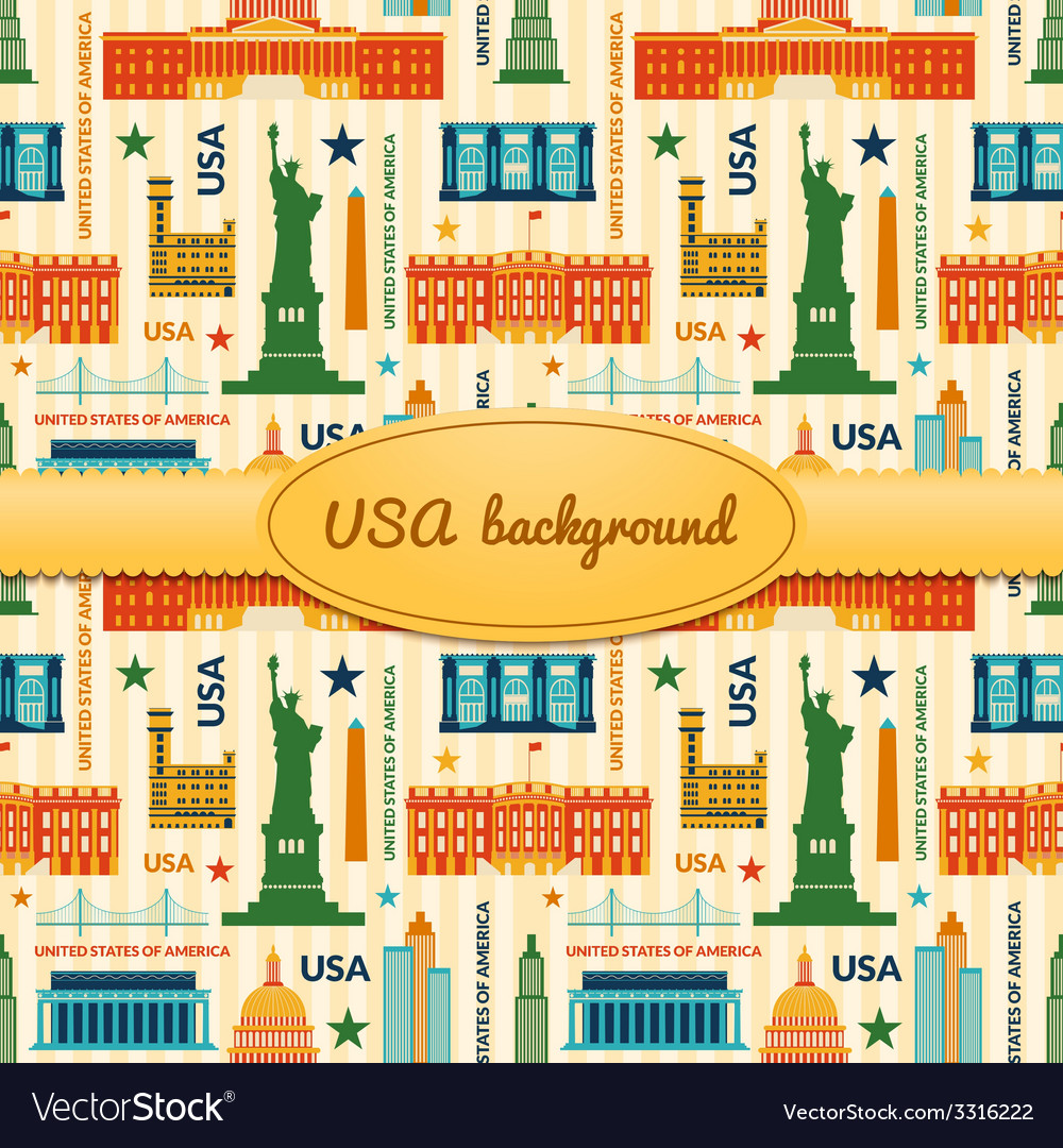 Landmarks of united states of america background vector | Price: 1 Credit (USD $1)