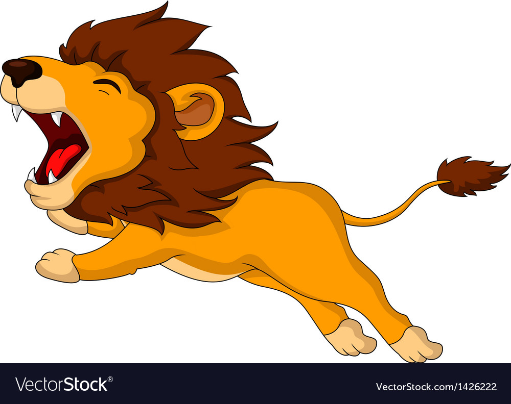 Roaring cartoon lion vector | Price: 1 Credit (USD $1)