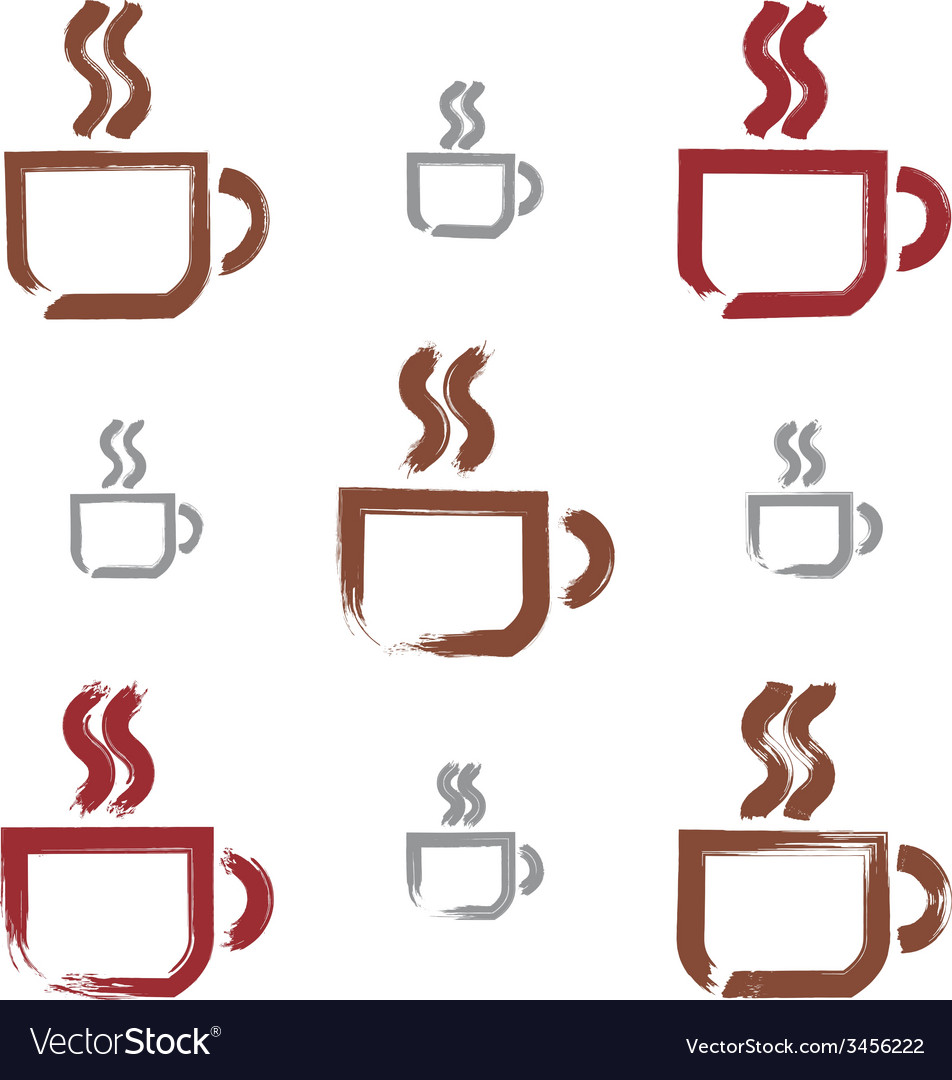 Set of hand-drawn coffee cup icons brush drawing vector | Price: 1 Credit (USD $1)