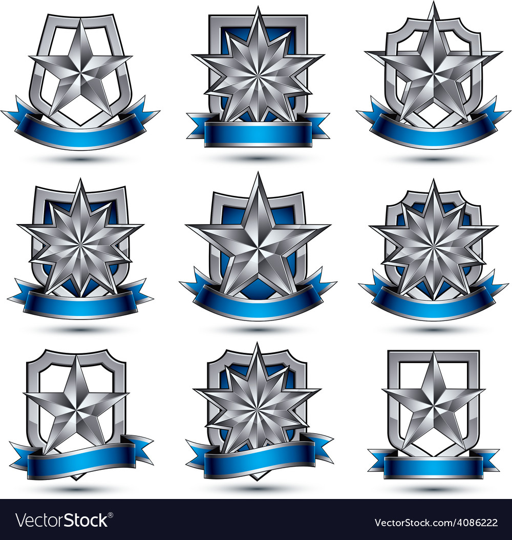 Set of silvery heraldic 3d glossy icons best for vector | Price: 1 Credit (USD $1)