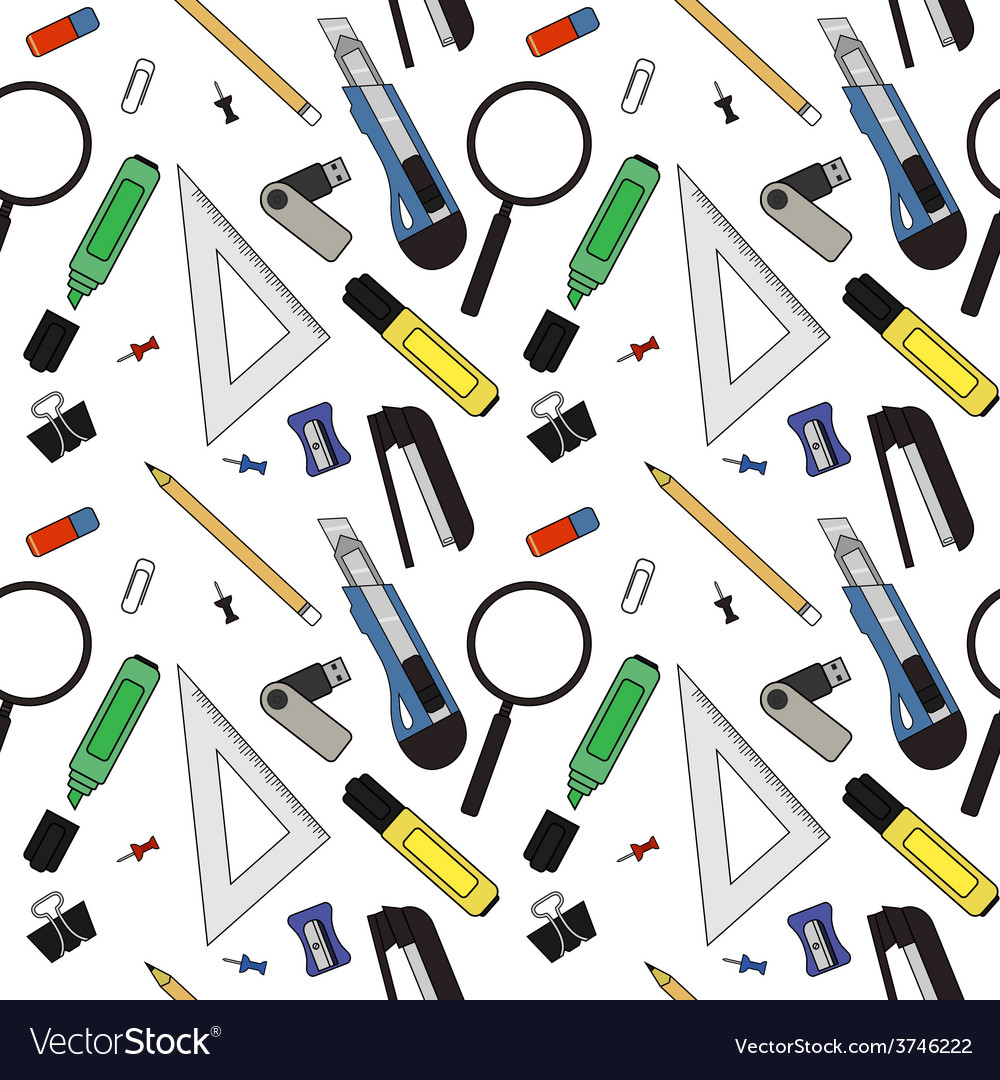 Stationery tools pattern vector | Price: 1 Credit (USD $1)