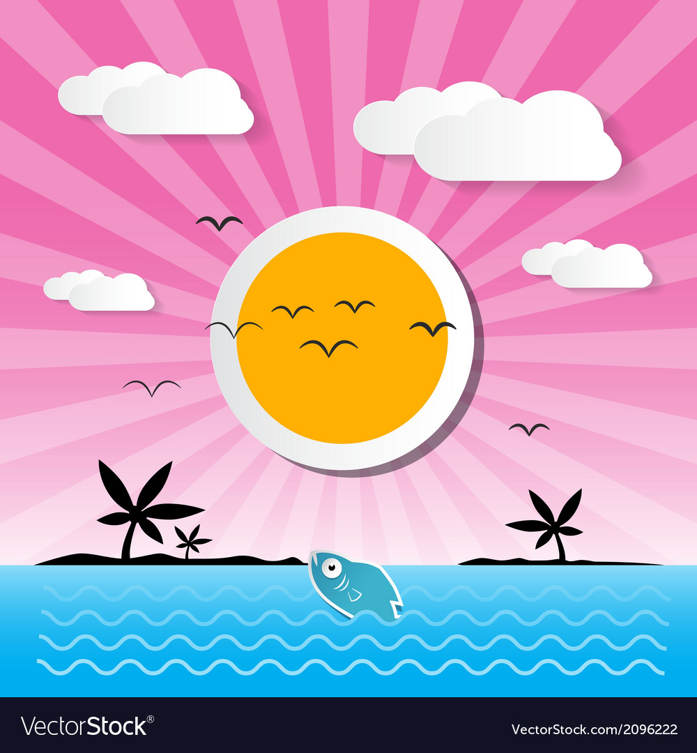Sunset ocean background with sun palm island vector | Price: 1 Credit (USD $1)