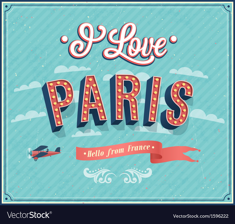 Vintage greeting card from paris vector | Price: 1 Credit (USD $1)