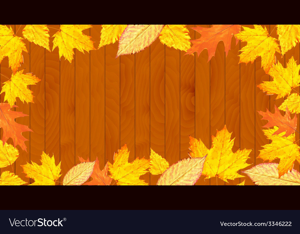 Wooden desk with leaves vector   Price: 1 Credit (USD $1)
