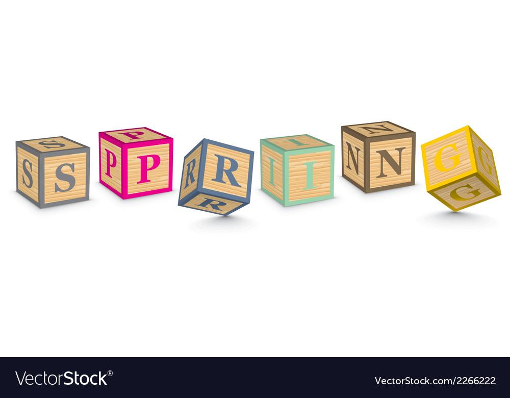 Word spring written with alphabet blocks vector | Price: 1 Credit (USD $1)