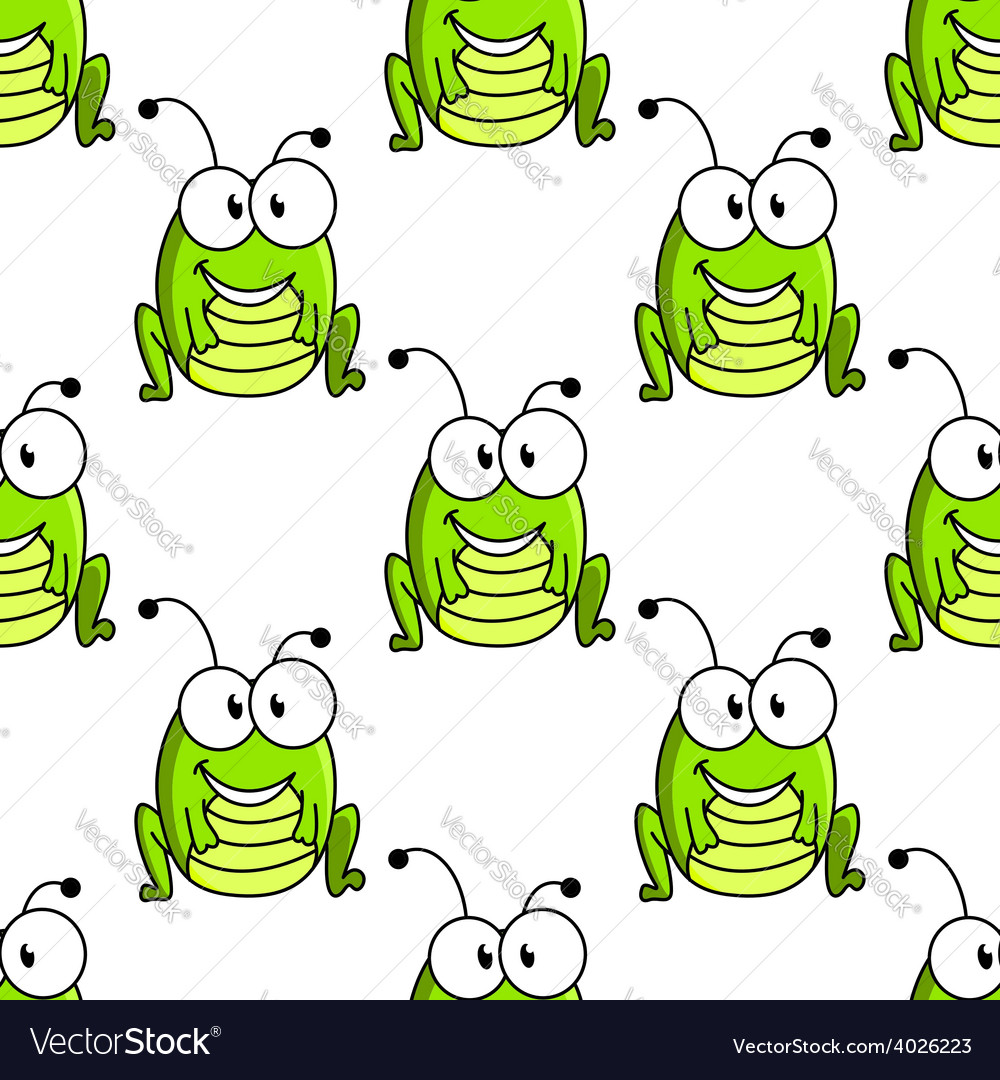 Cartoon green grasshopper character seamless vector | Price: 1 Credit (USD $1)