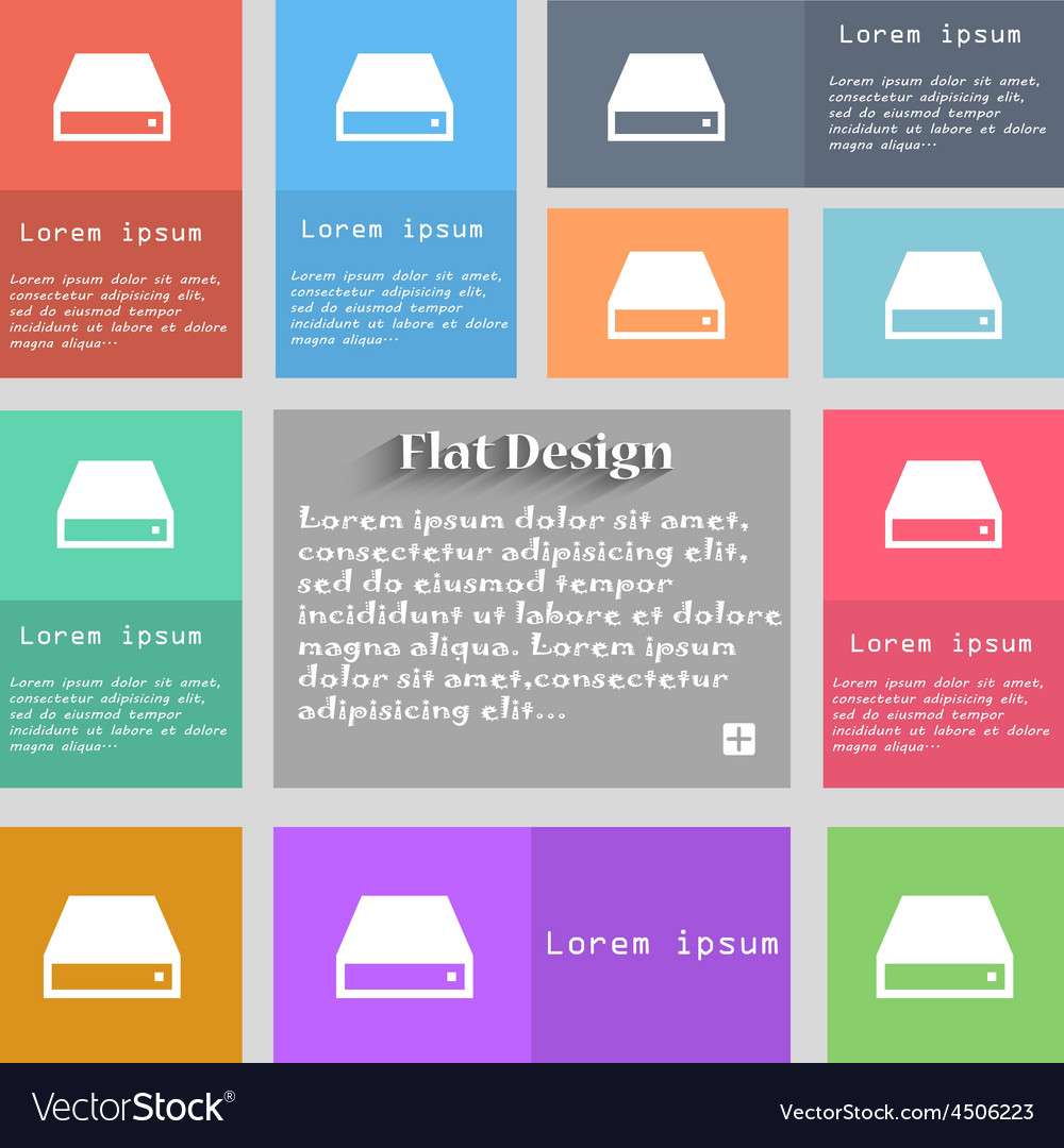 Cd-rom icon sign set of multicolored buttons metro vector | Price: 1 Credit (USD $1)