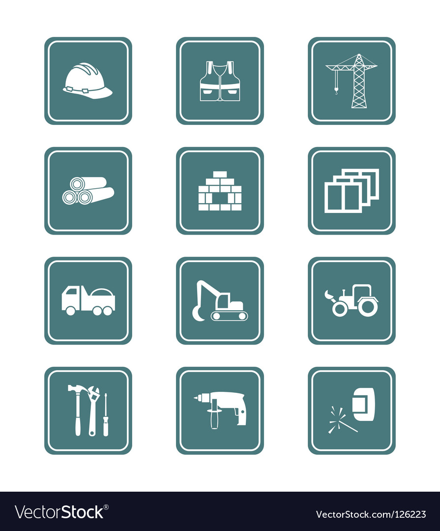 Construction icons  teal series vector | Price: 1 Credit (USD $1)