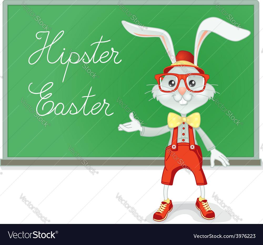 Hipster easter rabbit teacher cartoon vector | Price: 1 Credit (USD $1)
