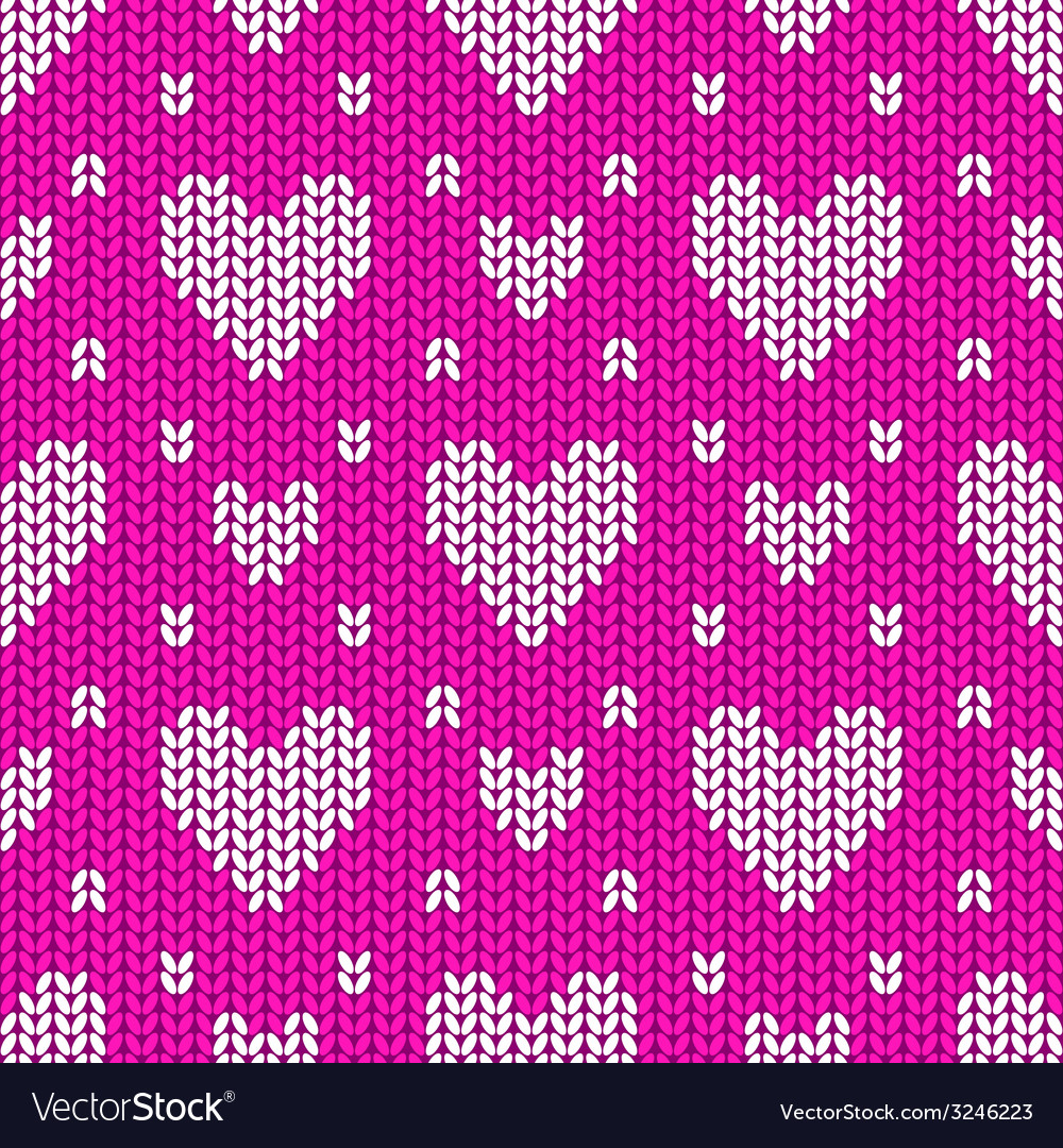 Knitted seamless pattern hearts vector | Price: 1 Credit (USD $1)