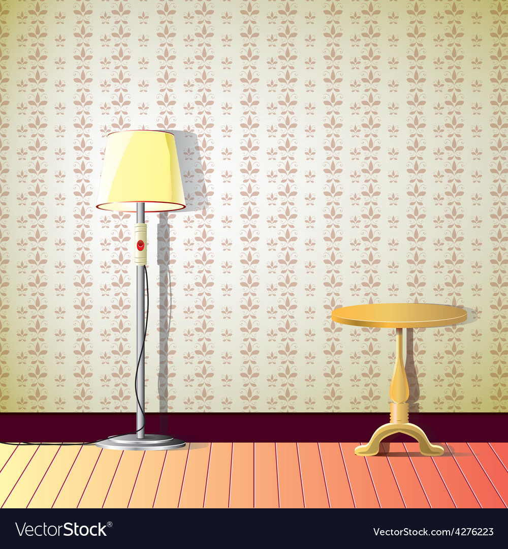 Living room with lamp and a small wooden table vector | Price: 1 Credit (USD $1)