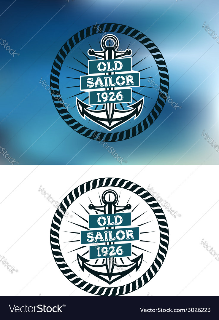 Nautical themed old sailor badge vector | Price: 1 Credit (USD $1)