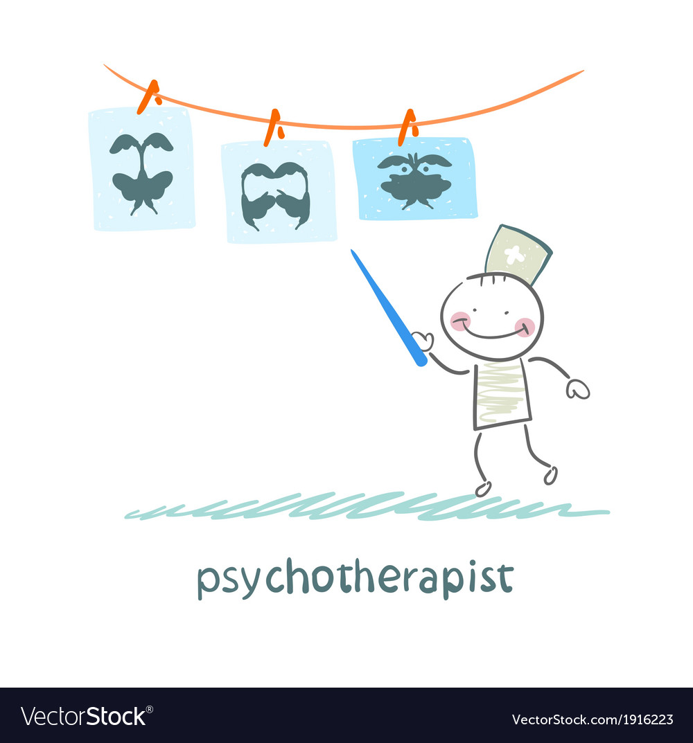 Psychotherapist shows a picture test and standing vector | Price: 1 Credit (USD $1)