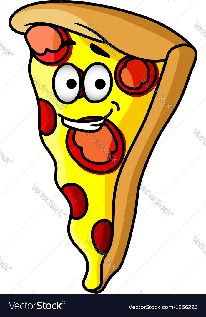 Slice of happy cheesy pepperoni pizza vector | Price: 1 Credit (USD $1)
