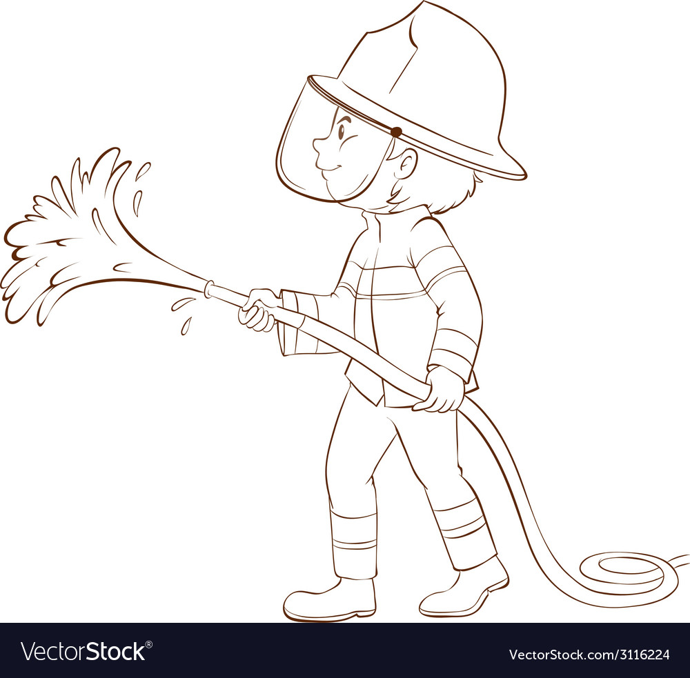 A plain sketch of a fireman holding a hose vector | Price: 1 Credit (USD $1)