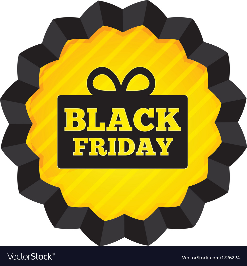 Black friday sale label with gift box on white vector | Price: 1 Credit (USD $1)
