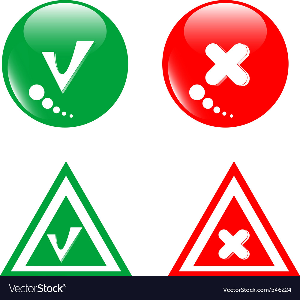 Button green accept and red reject vector | Price: 1 Credit (USD $1)