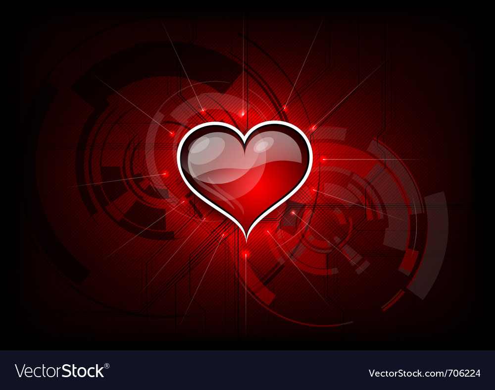Heart on the red tech background vector | Price: 1 Credit (USD $1)