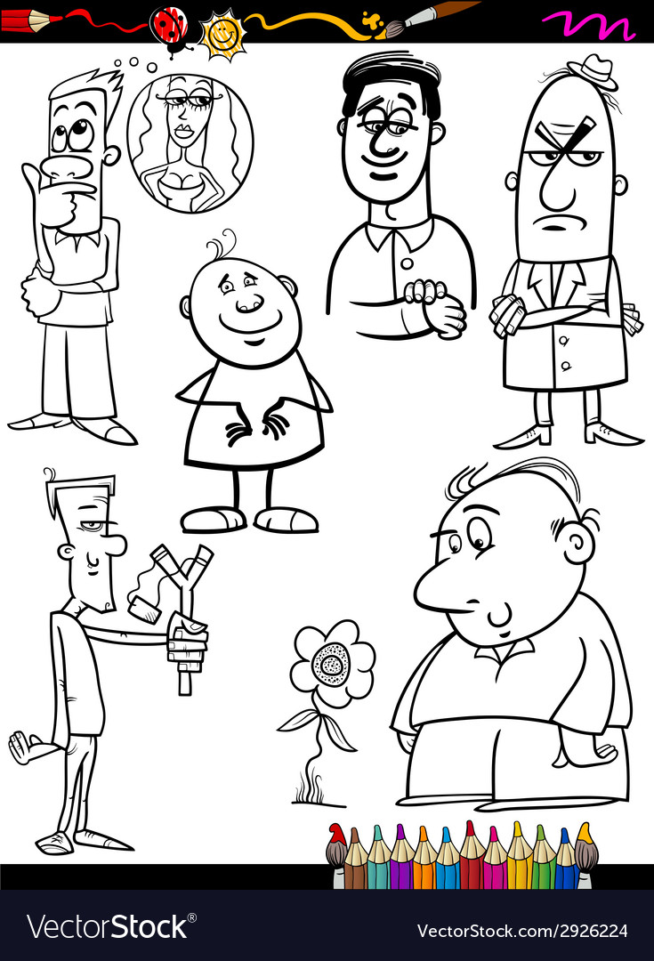 People set cartoon coloring page vector | Price: 1 Credit (USD $1)