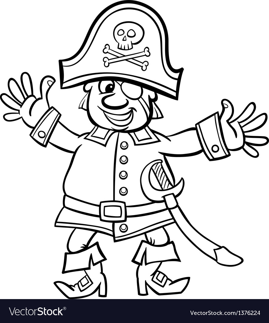 Pirate captain cartoon for coloring book vector | Price: 1 Credit (USD $1)