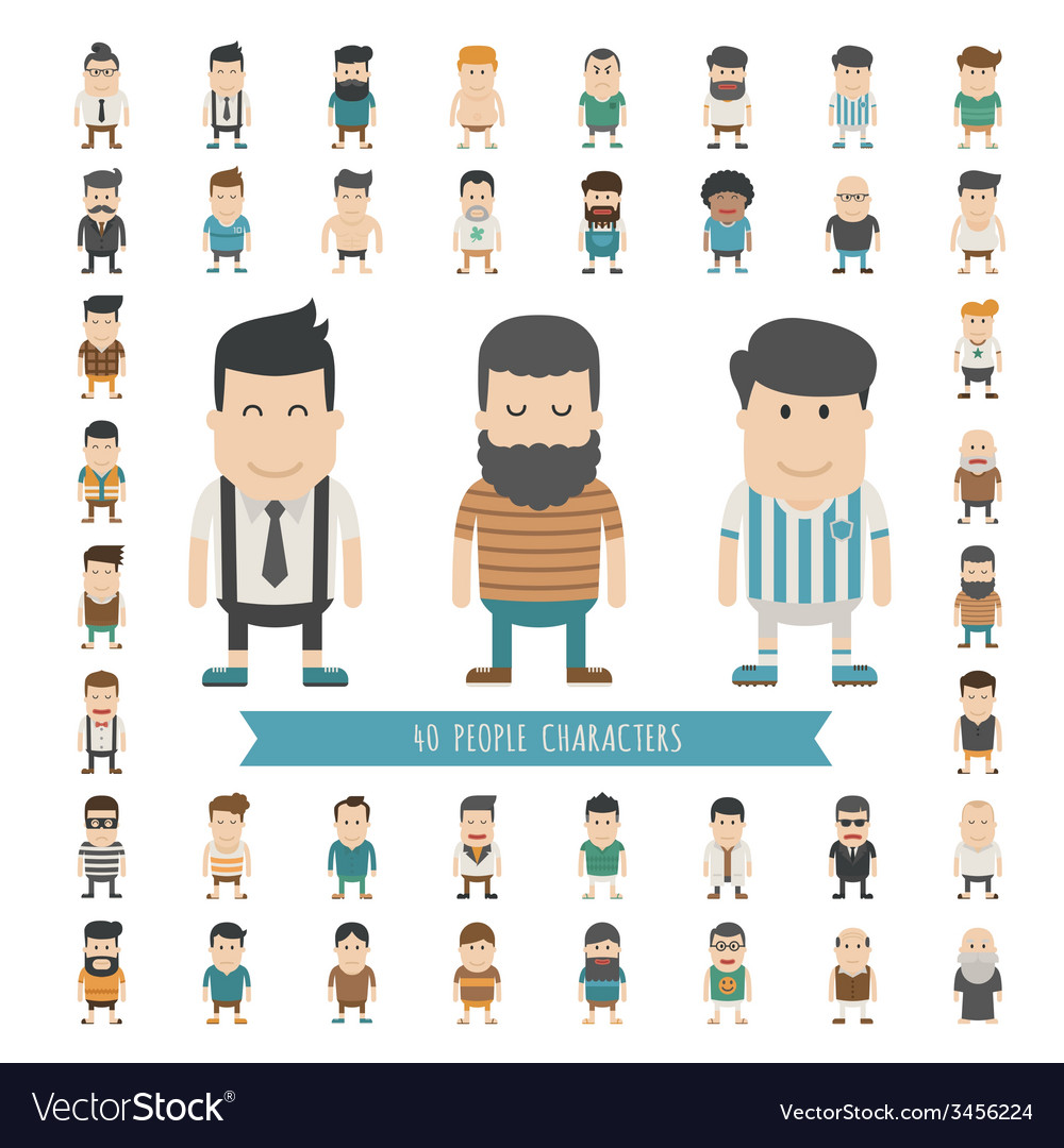 Set of 40 people characters vector | Price: 1 Credit (USD $1)