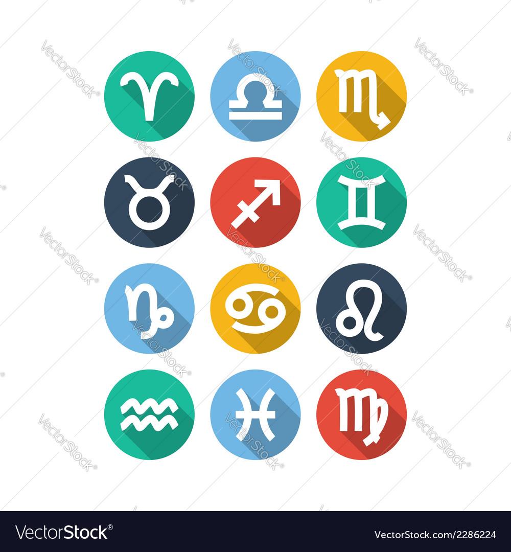 Zodiac symbol icons flat style vector   Price: 1 Credit (USD $1)