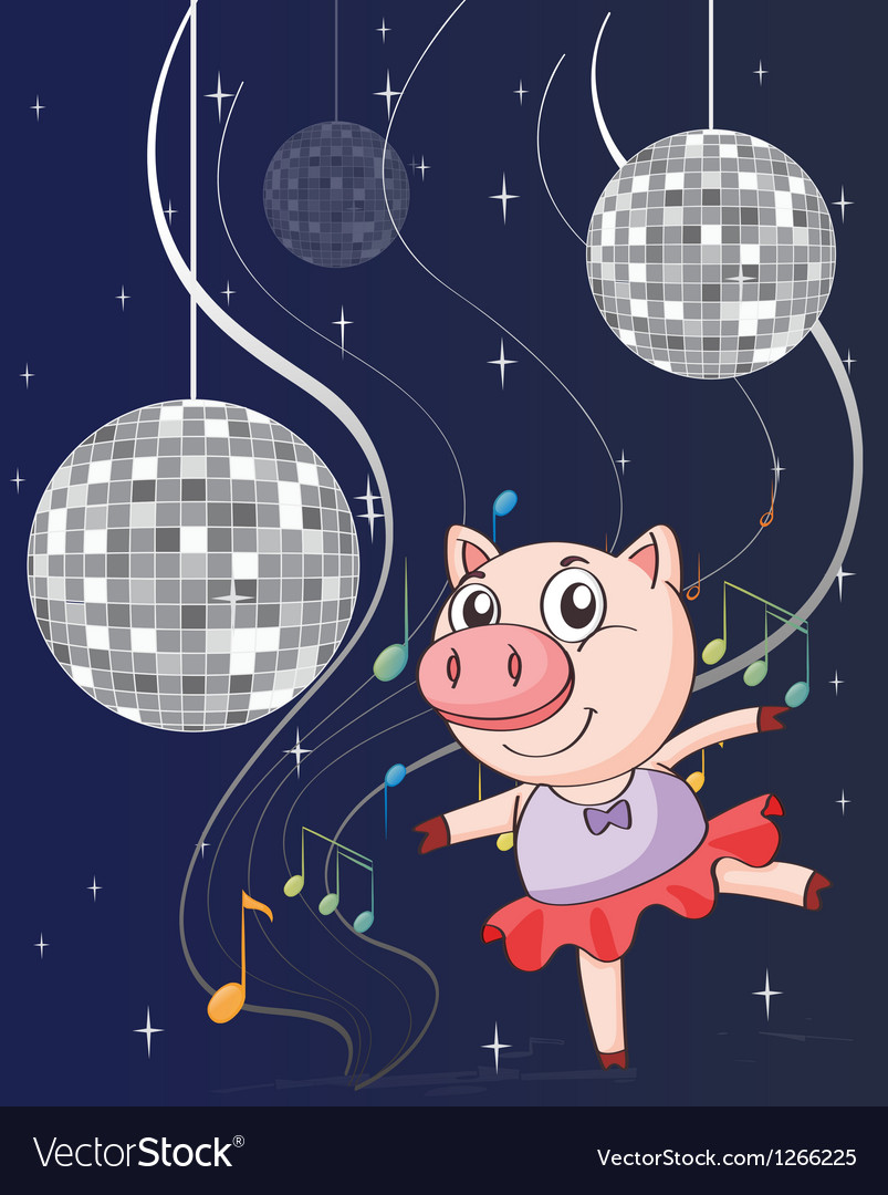 A pig dancing with disco lights vector | Price: 1 Credit (USD $1)