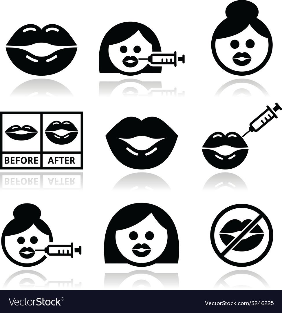 Big lips lip augmentation icons - beauty concept vector | Price: 1 Credit (USD $1)