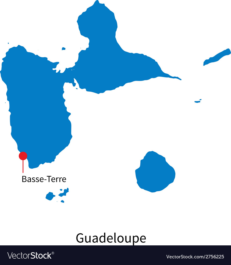 Detailed map of guadeloupe and capital city vector | Price: 1 Credit (USD $1)
