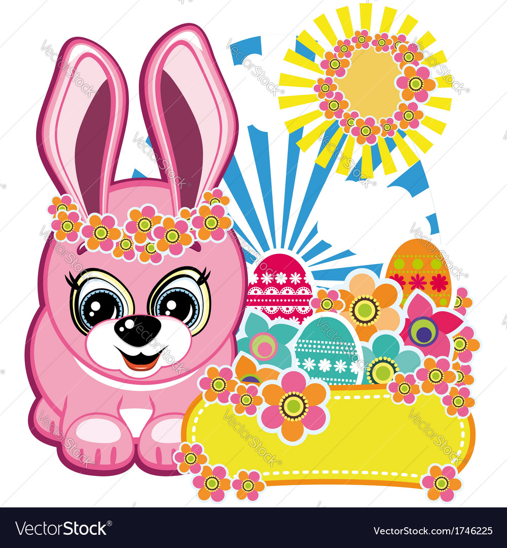 Easter greeting card the rabbit vector | Price: 3 Credit (USD $3)