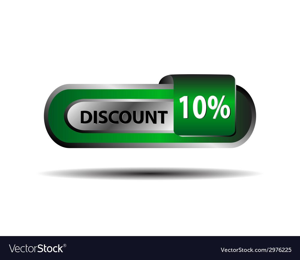 Green 10 percent discount button ten percent vector | Price: 1 Credit (USD $1)