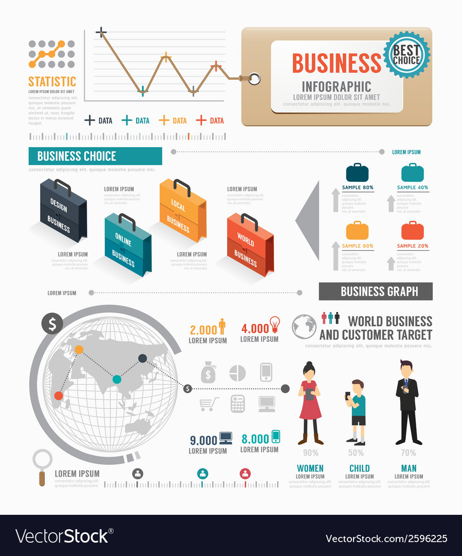 Infographic business world template design vector | Price: 1 Credit (USD $1)