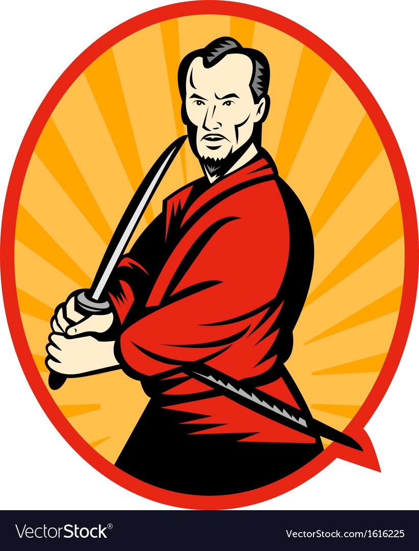 Samurai warrior with katana sword vector | Price: 3 Credit (USD $3)