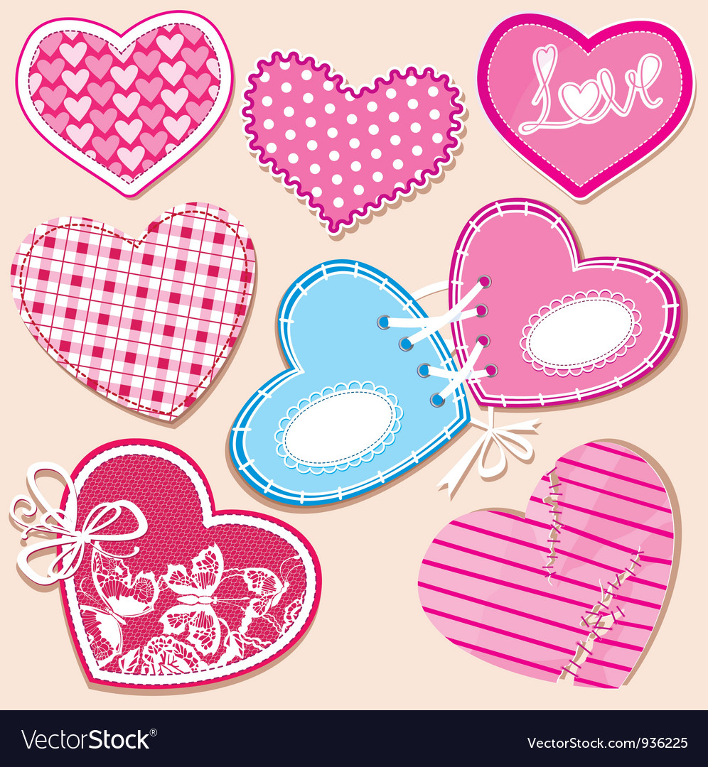 Scrapbook set of hearts in stitched textile style vector   Price: 1 Credit (USD $1)