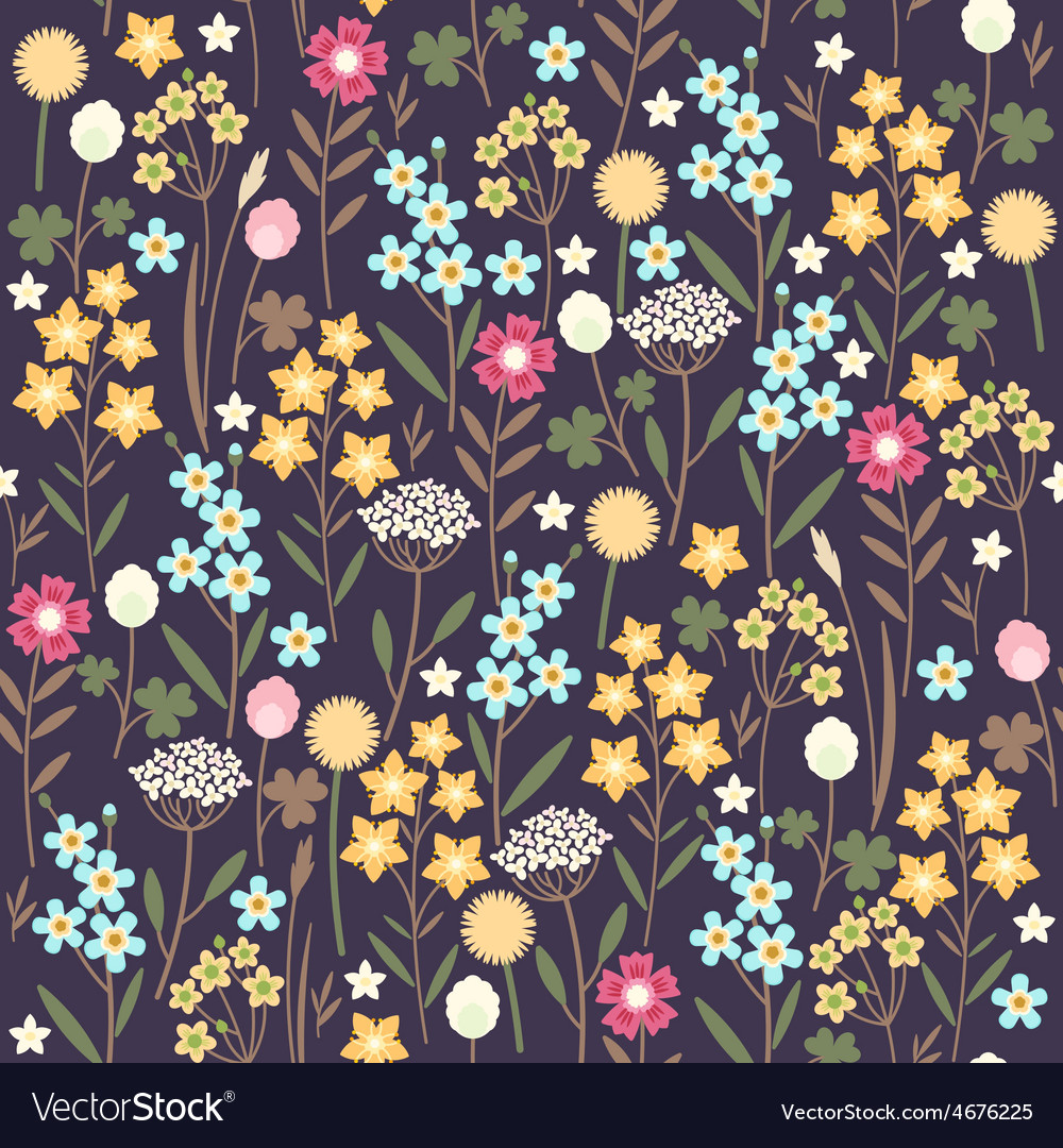 Seamless meadow flowers background vector | Price: 1 Credit (USD $1)