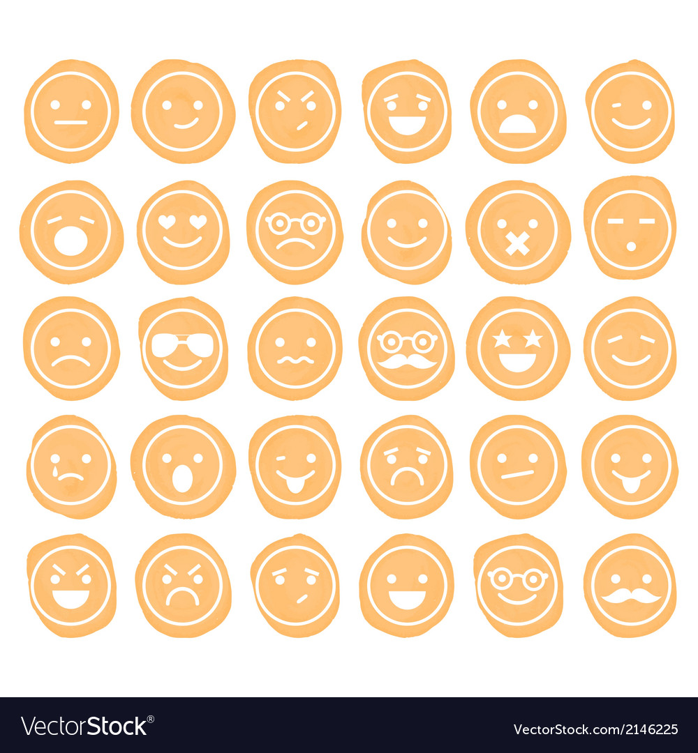 Set of smiley icons isolated vector | Price: 1 Credit (USD $1)