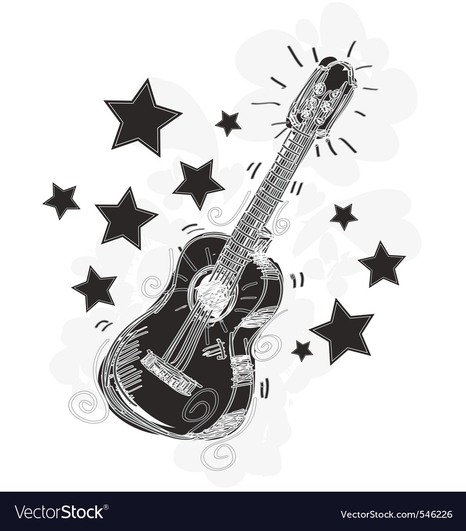 Abstract guitar sketchy vector | Price: 1 Credit (USD $1)