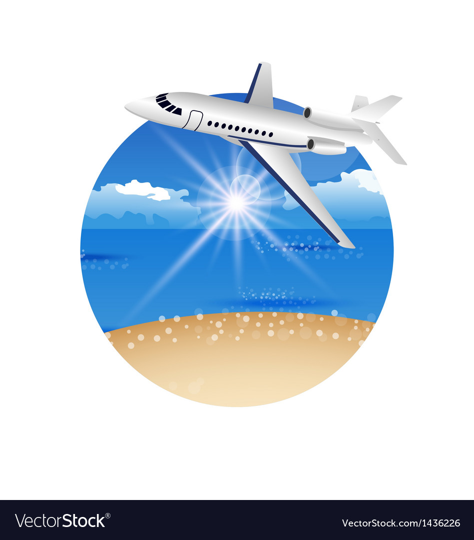 Beautiful summer postcard with beach and plane vector | Price: 1 Credit (USD $1)