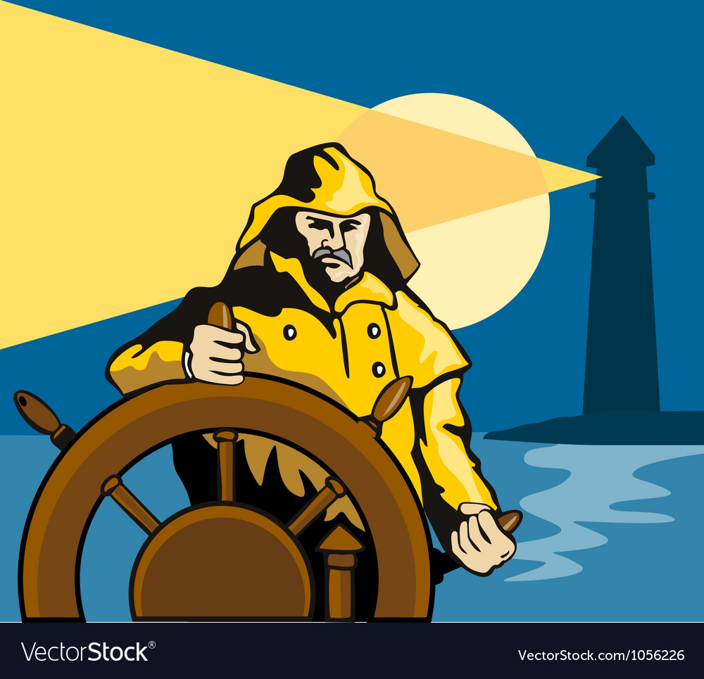 Fisherman sea captain helm retro vector | Price: 1 Credit (USD $1)