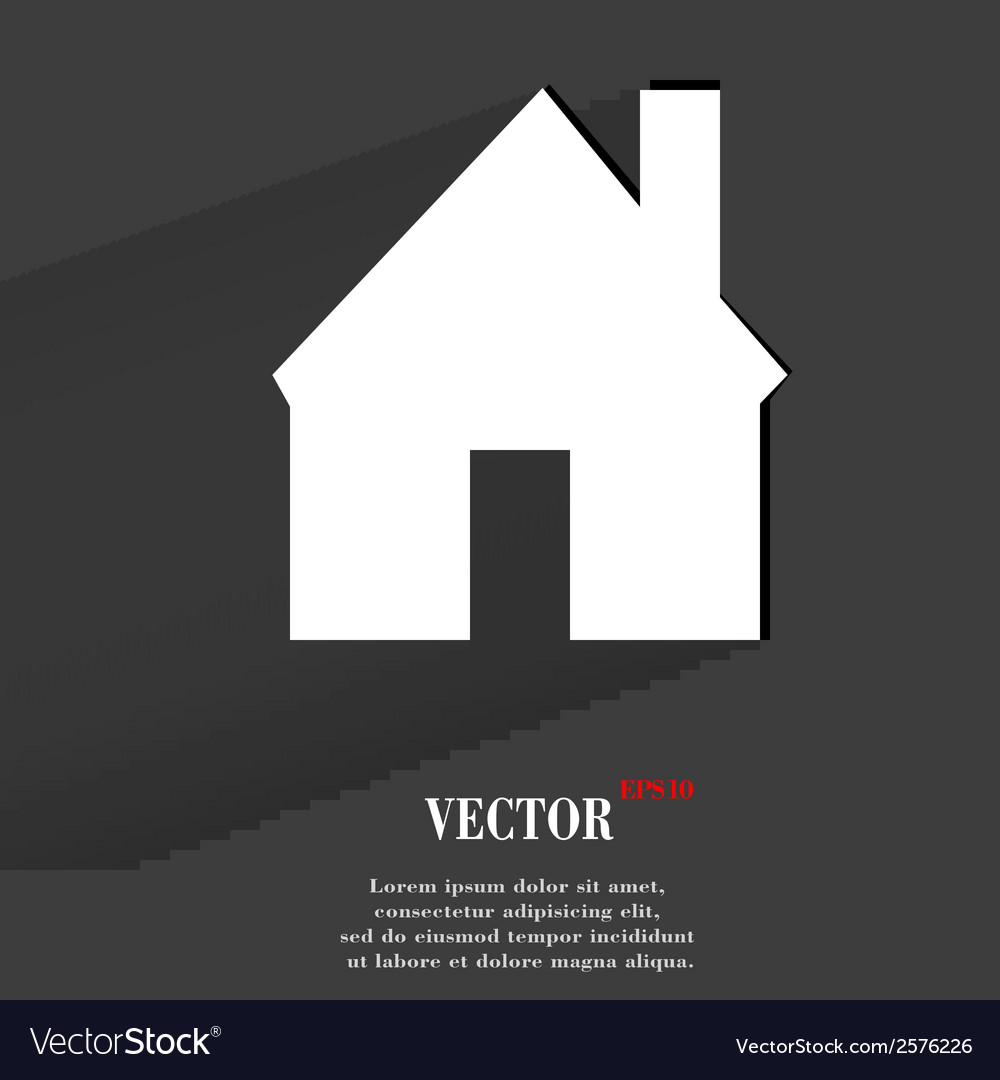 Home flat modern web button with long shadow and vector | Price: 1 Credit (USD $1)